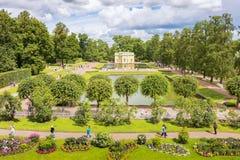 Parque do ` s de Catherine com pavilhão, perto de St Petersburg Fotos de Stock Royalty Free
