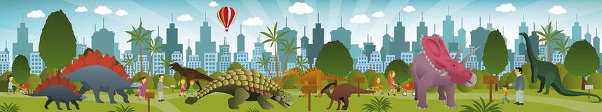 Parque dos dinossauros Fotos de Stock Royalty Free