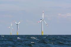 Parque eólico costero del alemán Fotografía de archivo