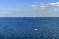 Parque eólico costero en el mar Báltico Fotos de archivo