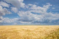 Parque eólico costero en el medio de un campo de trigo, Botievo, Ucrania Imagen de archivo