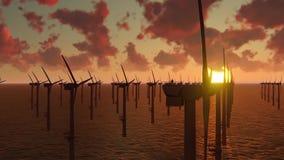 Parque eólico costero, molino de viento almacen de video