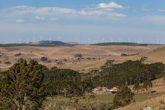 Parque eólico en Bom Jardim DA Serra - SC - el Brasil imagen de archivo