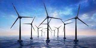 Parque eólico en el océano en la puesta del sol stock de ilustración
