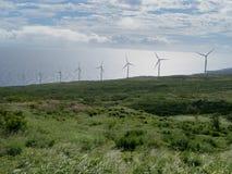 Parque eólico en Maui Hawaii Imagen de archivo libre de regalías