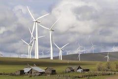 Parque eólico por el rancho de ganado en Washington State Fotos de archivo libres de regalías