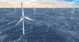 Parque eólico, turbinas de viento en el mar, animación almacen de video