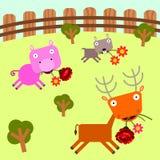 Parque e flores de animais ilustração royalty free
