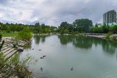 Parque e lago em Calgary Fotografia de Stock Royalty Free