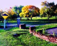 Parque e sinal Fotografia de Stock