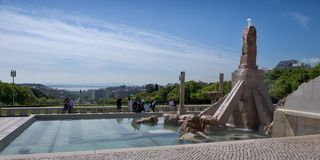 Parque Eduardo VII in Lisboa, Portugal. Memorial fountain in honor of the April revolution of carnations in Lisbon Royalty Free Stock Photography
