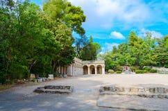 Parque en el castillo francés romano de la Colline du del parc de la colina, Niza, Francia foto de archivo libre de regalías