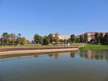 Parque en la ciudad bielorrusa Maladzetschna Fotos de archivo libres de regalías