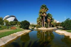 Parque en la ciudad de los artes y de las ciencias, Valencia. Foto de archivo