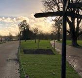 Parque en la puesta del sol fotos de archivo
