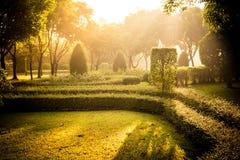 Parque en la salida del sol Aire fresco en una madrugada Imágenes de archivo libres de regalías