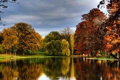 Parque en otoño, árboles y el lago Fotografía de archivo libre de regalías