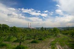 Parque entre área industrial Imagen de archivo libre de regalías
