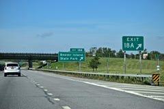 Parque estadual da ilha do castor, sinal da saída de New York Foto de Stock Royalty Free