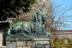 Parque estadual de bronze do potro da estátua do leão imagem de stock