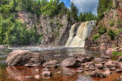 Parque estadual de Tettegouche na costa norte do Lago Superior no MI fotografia de stock