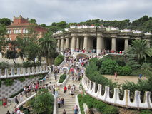 Parque Güell. Park Güell began to be built in 1900. It is one of the major works of Gaudí in Barcelona Stock Photo