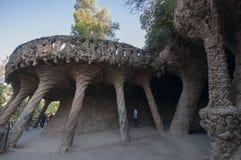Parque Guell, Barcelona, España del ` s de Antonio Gaudi, septiembre de 2016 Imagenes de archivo