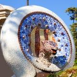 Parque Guell de Barcelona de serpiente del mosaico de Gaudi imagen de archivo libre de regalías
