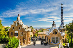 Parque Guell en Barcelona, España foto de archivo