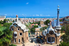 Parque Guell, opinión sobre Barcelona Imagen de archivo libre de regalías