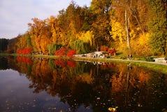 Parque hermoso del otoño con árboles y un lago Imagenes de archivo