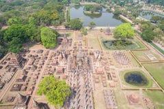 Parque histórico de Sukhothai en Sukhothai, Tailandia Silueta del hombre de negocios Cowering Fotografía de archivo libre de regalías