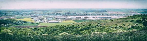 Parque industrial em Nitra, Eslováquia, filtro análogo fotos de stock royalty free