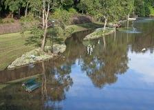 Parque inundado fotos de archivo