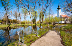 Parque inundado da igreja foto de stock