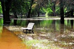 Parque inundado en la inundación imágenes de archivo libres de regalías