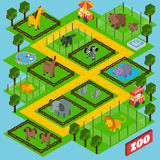 Parque isométrico do jardim zoológico ilustração do vetor