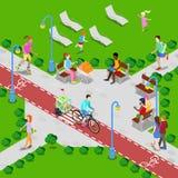 Parque isométrico de la ciudad con la trayectoria de la bicicleta Gente activa que camina en parque Vector Imágenes de archivo libres de regalías