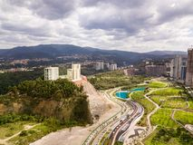 Parque la Mexicana - Mexico City. At Santa Fe cloudy day aerial view royalty free stock images