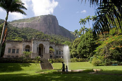 Parque Lage Cultural Center. In Rio de Janeiro.  Christ the Redeemer on Corcovado Mountain in the background Stock Photography