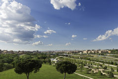 Parque Lineal del Manzanares, Madrid. Panorama view of Madrid's skyline from the quiet green Parque Lineal del Manzanares, a public park along Manzanares Stock Image