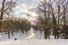 Parque Maksimir Zagreb da cidade, inverno Foto de Stock Royalty Free