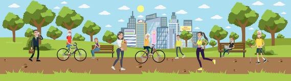 Parque na cidade ilustração royalty free