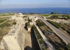 Parque nacional Caesarea da parede da fortaleza Imagem de Stock