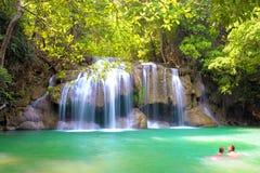 Parque nacional da cachoeira de Erawan Fotos de Stock Royalty Free