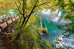 Parque nacional Dalmácia dos lagos Plitvice, Croácia Fotografia de Stock