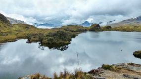 Parque nacional de Cajas, lago Toreadora no dia nebuloso fotografia de stock