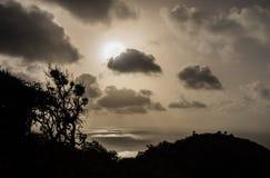 Parque nacional de Christoffel - árboles y puesta del sol Foto de archivo libre de regalías