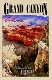 Parque nacional de Grand Canyon, Arizona, cartel del viaje Fotografía de archivo libre de regalías