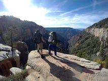 Parque nacional de Grand Canyon que camina la opinión del norte 3 del borde Imágenes de archivo libres de regalías